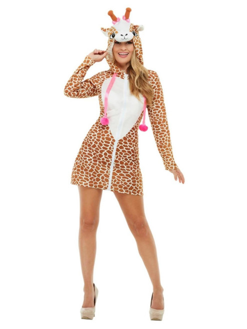 "48"" Brown and White Giraffe Women Adult Halloween Costume - Large - IMAGE 1"