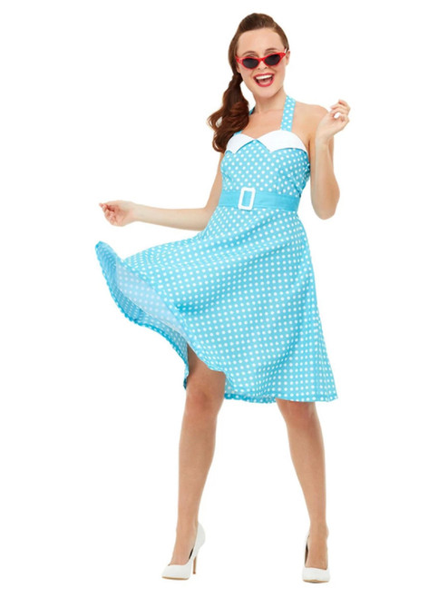 """41"""" Blue and White 1950's Style Pin Up Women Adult Halloween Costume - Small - IMAGE 1"""