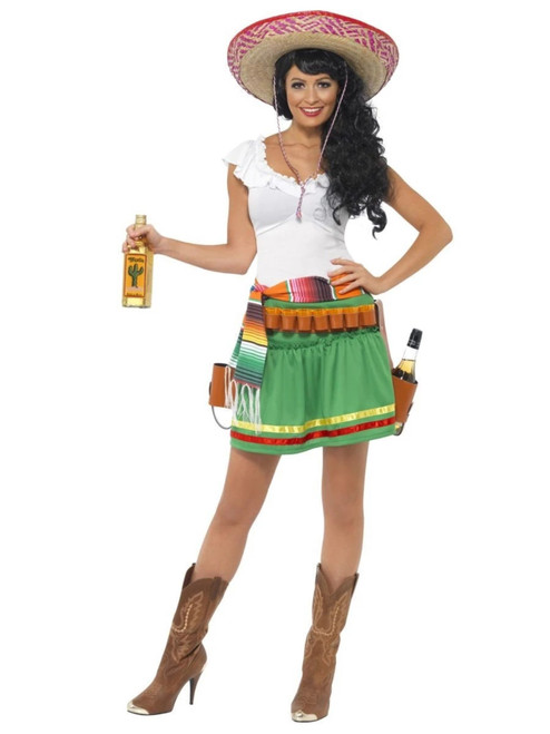 """42"""" Green and White Tequila Shooter Women Adult Halloween Costume - Medium - IMAGE 1"""