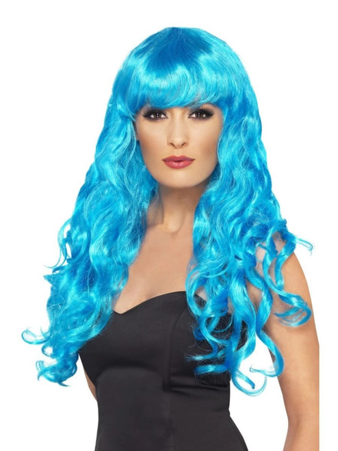 "26"" Blue Flirty Fringe Curly Long Women Adult Halloween Siren Wig Costume Accessory - One Size - IMAGE 1"