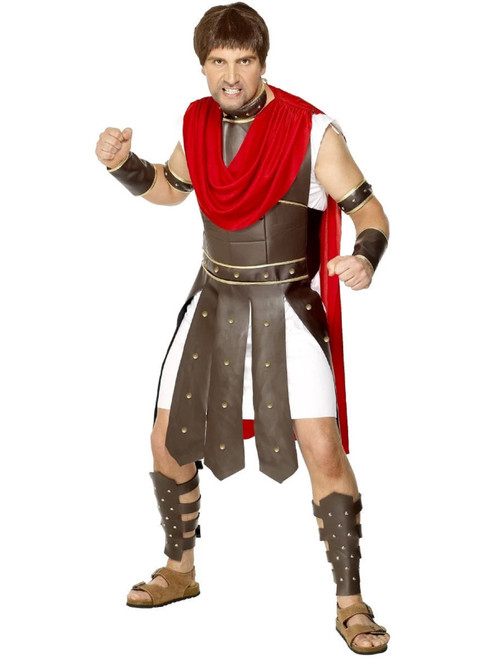 "49"" Red and Brown Centurion Men Adult Halloween Costume - Medium - IMAGE 1"