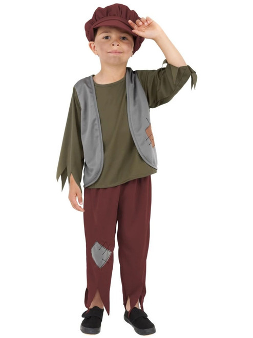 Green and Gray Victorian Poor Boy Child Halloween Costume - Large - IMAGE 1