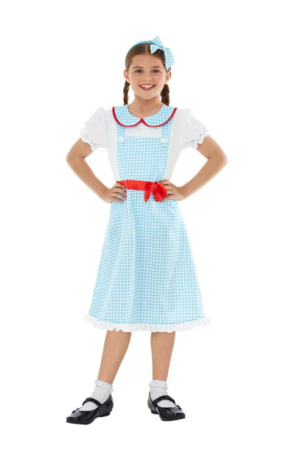 Blue and White Checkered Country Girl Child Halloween Costume - Large - IMAGE 1