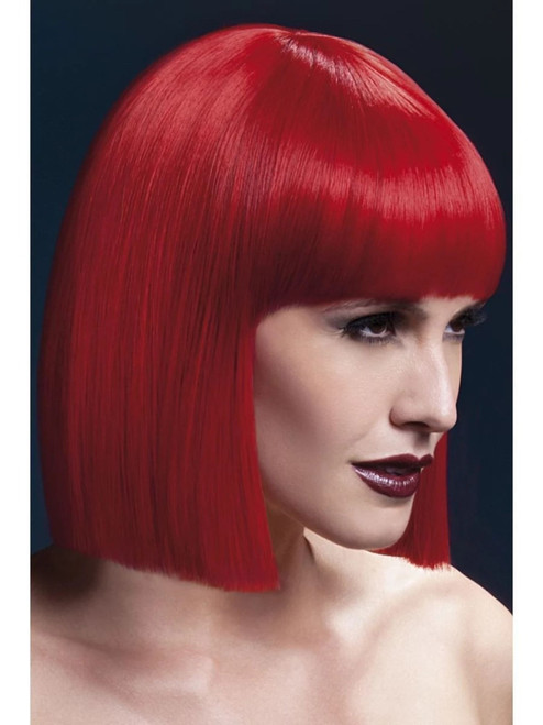 """26"""" Red Fever Lola Blunt Cut with Fringe Women Adult Halloween Wig Costume Accessory - One Size - IMAGE 1"""