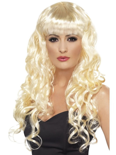 "26"" Blonde Flirty Fringe Curly Long Women Adult Halloween Siren Wig Costume Accessory - One Size - IMAGE 1"