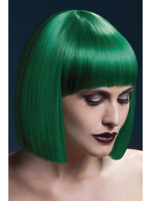 """26"""" Green Fever Lola Blunt Cut Women Adult Halloween Wig Costume Accessory - One Size - IMAGE 1"""