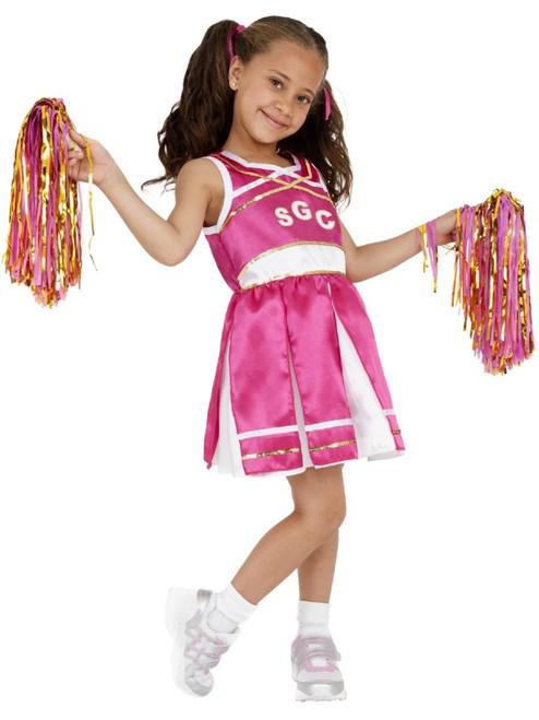 """49"""" Pink and White Cheerleader Girl Child Girl Halloween Costume - Medium - IMAGE 1"""