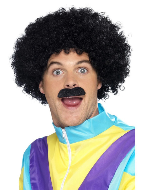 """26"""" Black Scouser 1980's Men Adult Halloween Wig and Tash Costume Accessory - One Size - IMAGE 1"""
