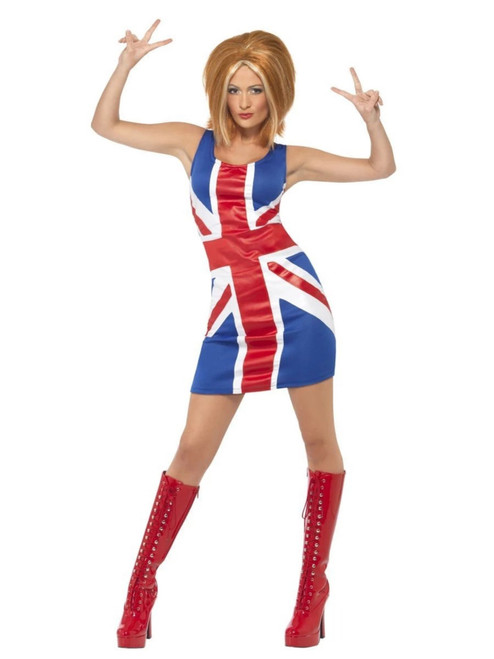 """32"""" Red and Blue 1990's Style Ginger Power Icon Women Adult Halloween Costume - Medium - IMAGE 1"""