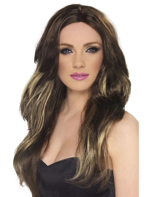 """26"""" Brown and Blonde Wavy Long Women Adult Temptress Halloween Wig Costume Accessory - One Size - IMAGE 1"""