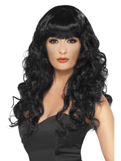 "26"" Black Flirty Fringe Curly Long Women Adult Halloween Siren Wig Costume Accessory - One Size - IMAGE 1"