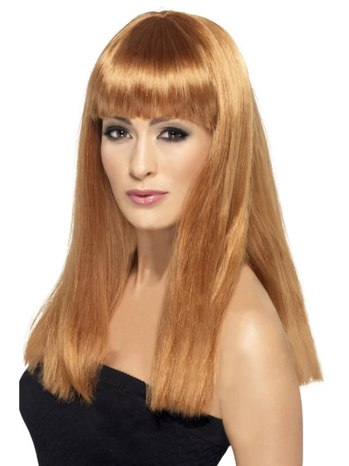 """26"""" Brown Auburn Long and Straight Women Adult Halloween Wig Costume Accessory - One Size - IMAGE 1"""
