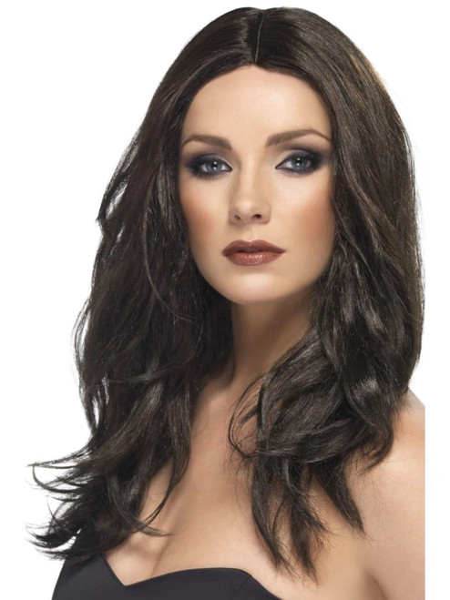 """26"""" Brown Glamour Wavy Long Superstar Women Adult Halloween Wig Costume Accessory - One Size - IMAGE 1"""