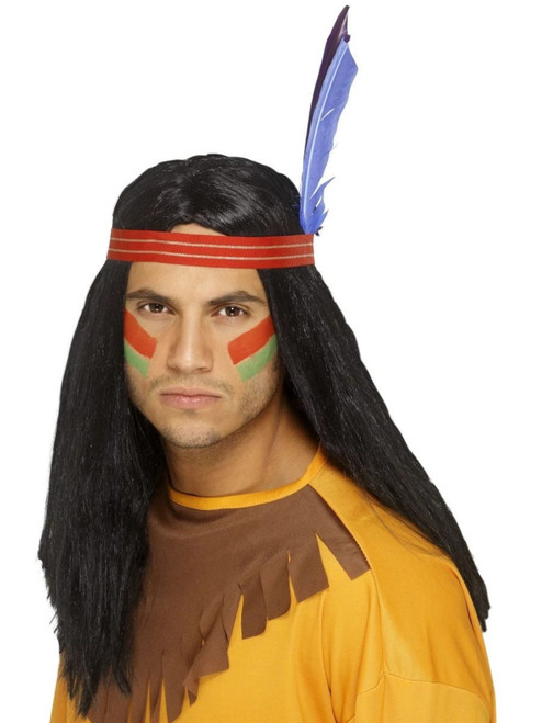 "26"" Black Cowboys and Indians Native American Inspired Men Adult Halloween Wig Costume Accessory - One Size - IMAGE 1"