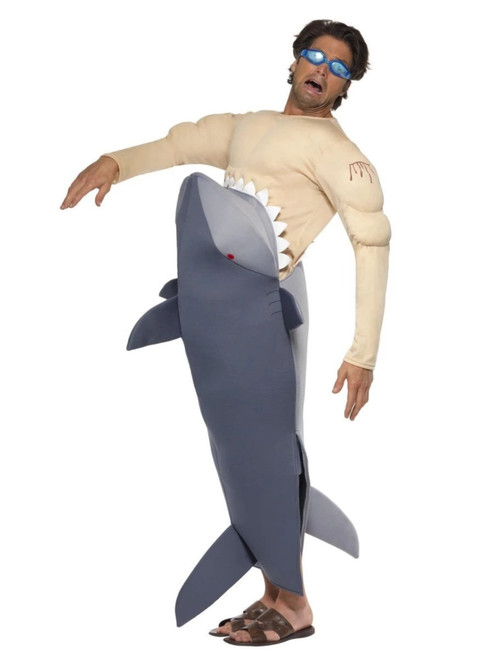 """49"""" Gray and Beige Man Eating Shark Men Adult Halloween Costume - One Size - IMAGE 1"""