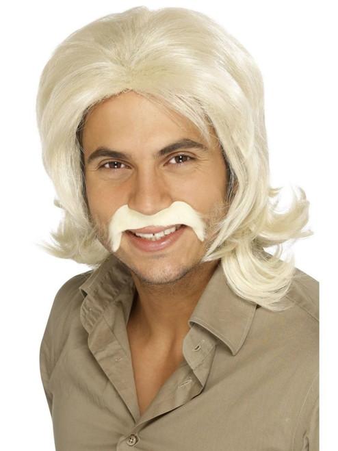 "26"" Blonde Ivory 1970 Style Fringed Retro Men Adult Halloween Wig Costume Accessory - One Size - IMAGE 1"