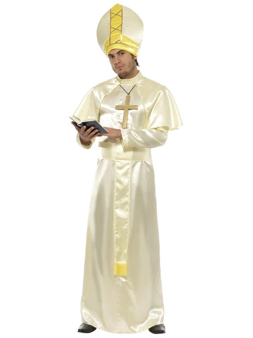 """50"""" Cream White and Yellow Pope Men Adult Christmas Costume - Medium - IMAGE 1"""