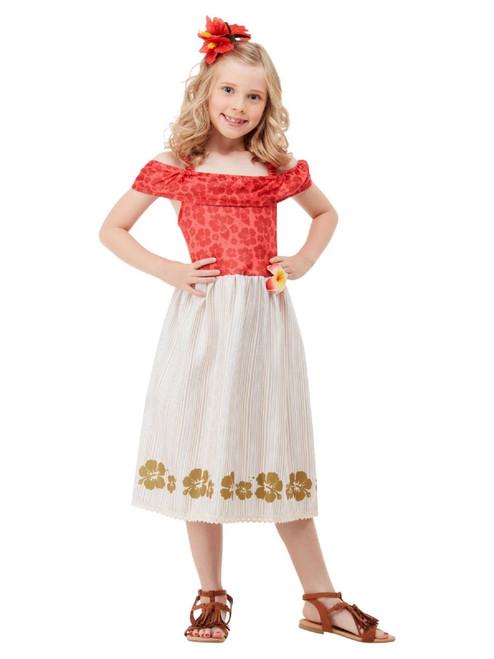 Red and Beige Hawaiian Princess Girl Child Halloween Costume - Medium - IMAGE 1
