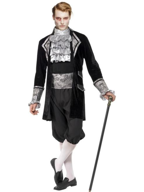 "42"" Black and Silver Fever Baroque Vampire Men Adult Halloween Costume - Medium - IMAGE 1"