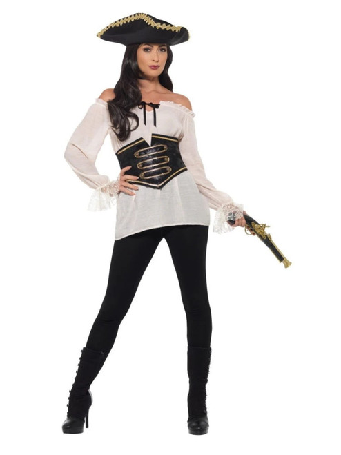 """49"""" Ivory and Black Pirate Deluxe Women Adult Halloween Costume - Medium - IMAGE 1"""