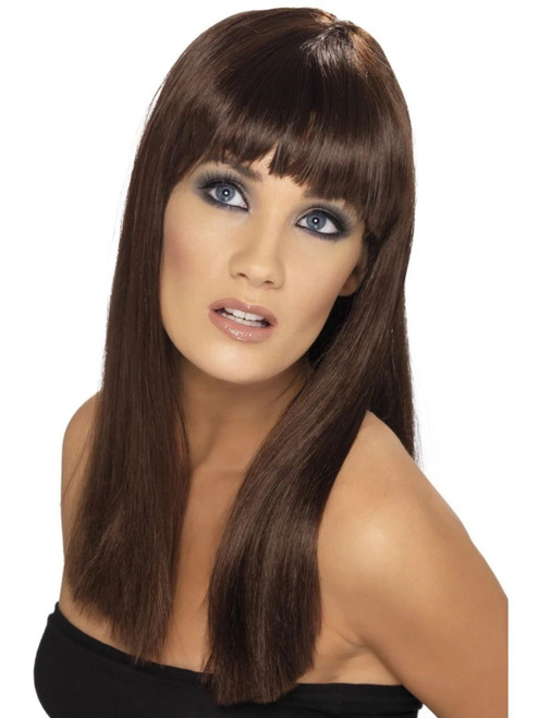 """26"""" Brown Glamourama Long and Fringe Women Adult Halloween Wig Costume Accessory - One Size - IMAGE 1"""
