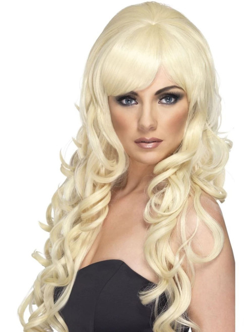 "26"" Blonde Pop Starlet Long and Curly Women Adult Halloween Wig Costume Accessory - One Size - IMAGE 1"