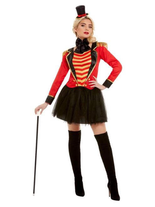 "41"" Red and Black Deluxe Ringmaster Women Adult Halloween Costume - Medium - IMAGE 1"