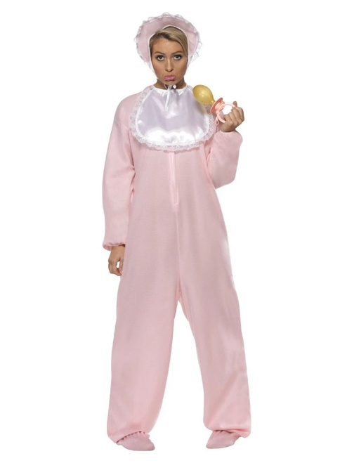 """40"""" Pink and White Baby Romper Women Adult Halloween Costume - One Size - IMAGE 1"""