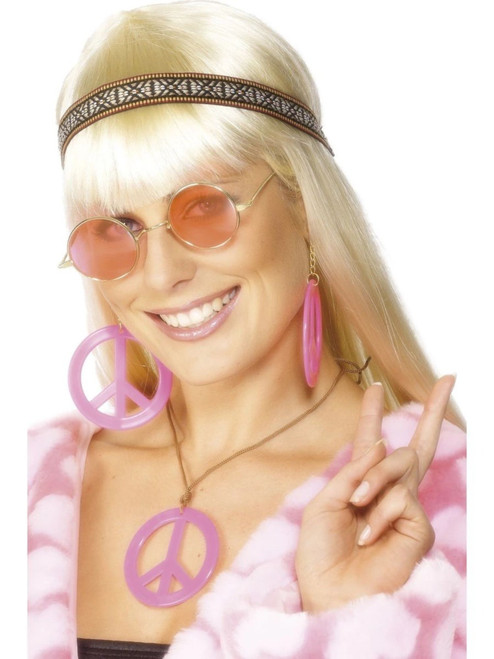 "19"" Pink 1960's Style Women Adult Halloween Hippie Kit Costume Accessory - One Size - IMAGE 1"