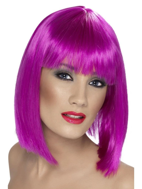 "26"" Neon Purple Glam Short Blunt Fringe Women Adult Halloween Wig Costume Accessory - One Size - IMAGE 1"