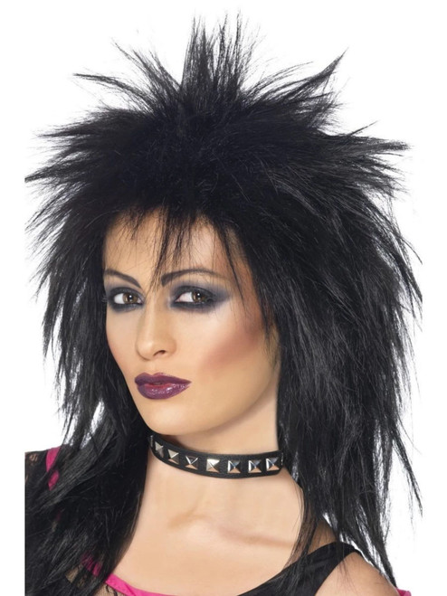 """26"""" Black 1980 Style Rock Diva Long Mullet Women Adult Halloween Wig Costume Accessory - One Size - IMAGE 1"""