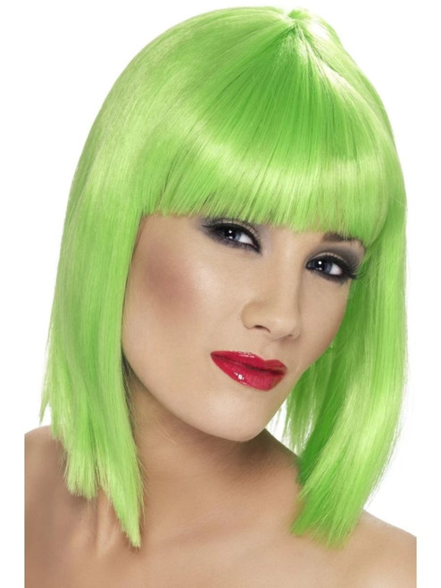 "26"" Neon Green Glam Short Blunt Fringe Women Adult Halloween Wig Costume Accessory - One Size - IMAGE 1"