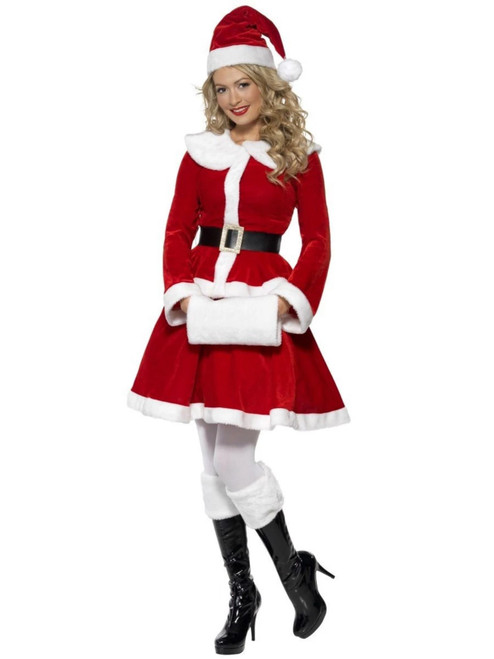 """40"""" Red and White Miss Santa Claus Women Adult Christmas Costume - Medium - IMAGE 1"""