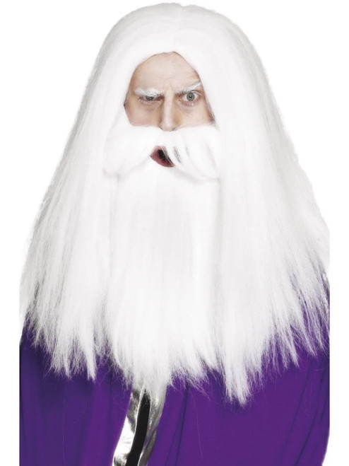 """26"""" White Magician Wig and Beard Men Adult Halloween Costume Accessory - One Size - IMAGE 1"""