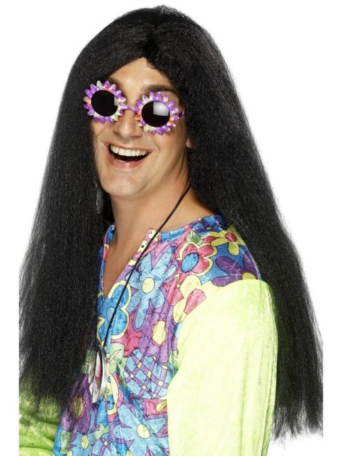 """26"""" Black 1960's Style Groovy Hippy Long Men Adult Halloween Wig Costume Accessory - One Size - IMAGE 1"""