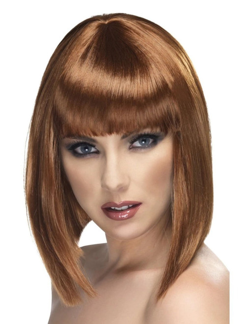 """26"""" Brown Glam Short Blunt Fringe Women Adult Halloween Wig Costume Accessory - One Size - IMAGE 1"""