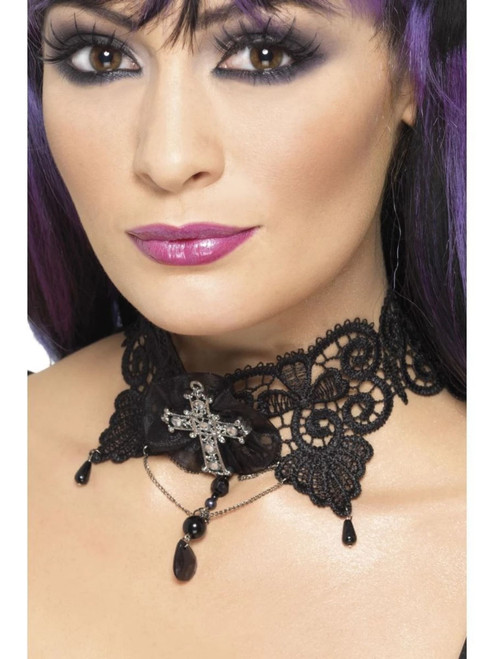 """19"""" Black Gothic Lace Women Halloween Choker Ornate with Jewelled Cross Costume Accessory - One Size - IMAGE 1"""