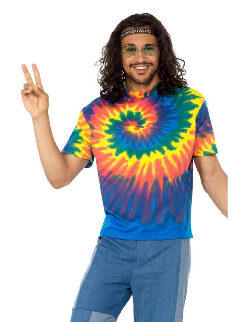"40"" Blue and Yellow 1960's Style Tie Dye Groovy T-Shirt Men Adult Halloween Costume - Medium - IMAGE 1"