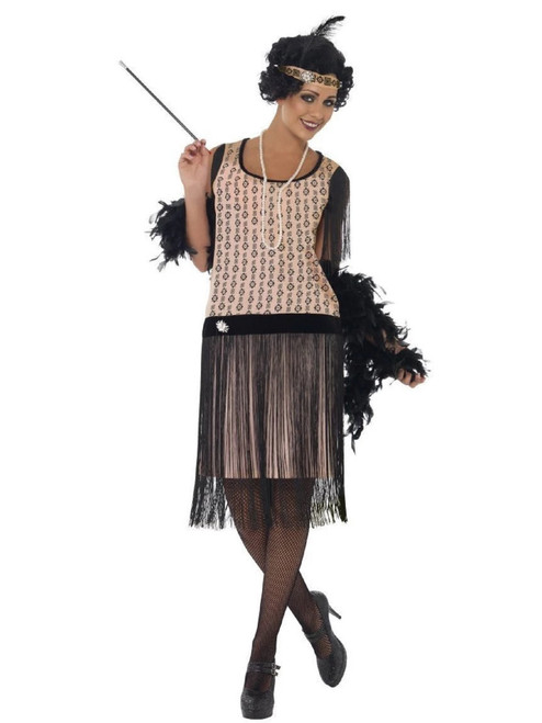 """43"""" Pink and Black 1920's Coco Flapper Women Adult Halloween Costume - Small - IMAGE 1"""