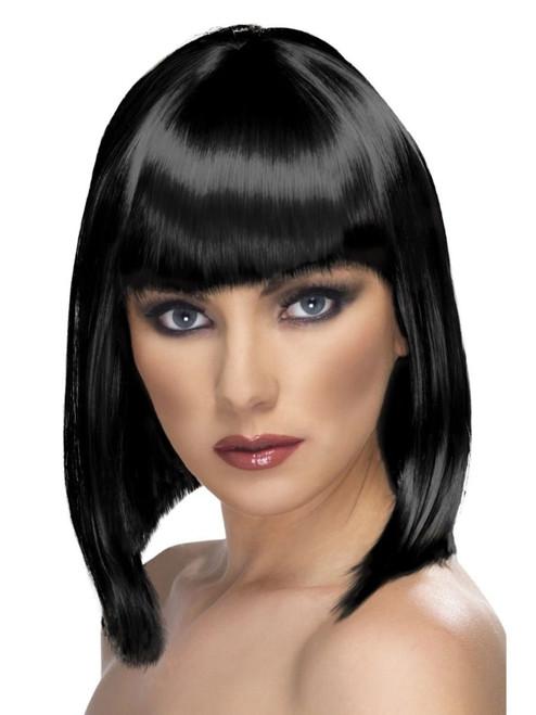 "29"" Black Glam Short Blunt Fringe Women Adult Halloween Wig Costume Accessory - One Size - IMAGE 1"