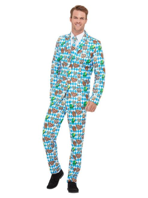 "40"" Blue and White Oktoberfest Suit Men Adult Halloween Costume - Large - IMAGE 1"