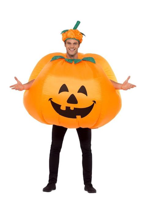 "49"" Orange and Green Pumpkin Inflatable Men Adult Halloween Costume - One Size - IMAGE 1"