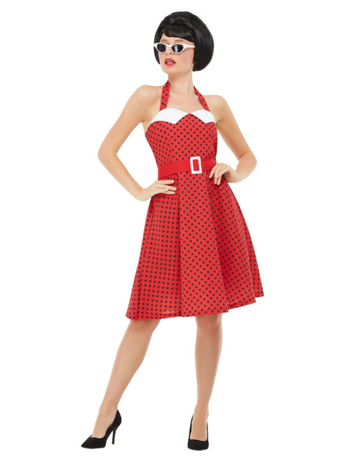 """41"""" Red and Black 1950's Style Rockabilly Pin Up Women Adult Halloween Costume - Small - IMAGE 1"""