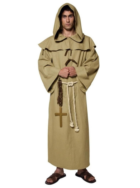 """49"""" Brown and Cream White Tales of Old England Friar Tuck Men Adult Halloween Costume - Medium - IMAGE 1"""