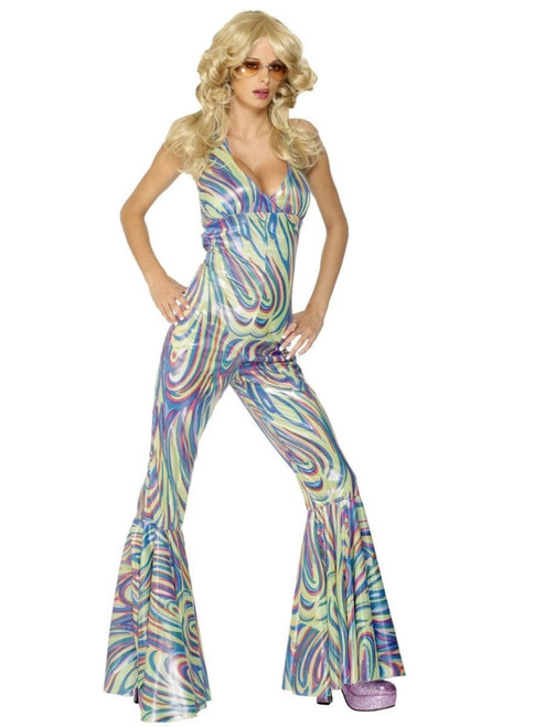 """50"""" Purple and Green 1970's Style Dancing Queen Women Adult Halloween Costume - Small - IMAGE 1"""