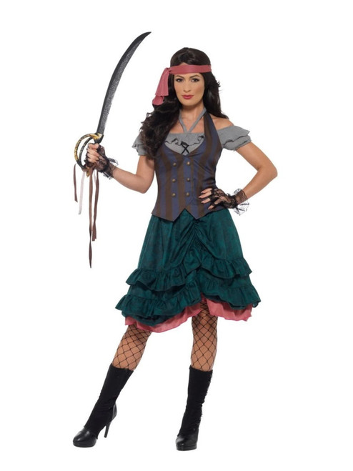 """49"""" Gray and Green Deluxe Pirate Wench Women Adult Halloween Costume - Medium - IMAGE 1"""