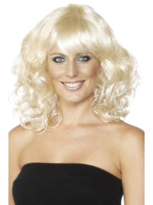 "26"" Blonde Yellow Foxy Semi Long Curly Women Adult Halloween Wig Costume Accessory - One Size - IMAGE 1"