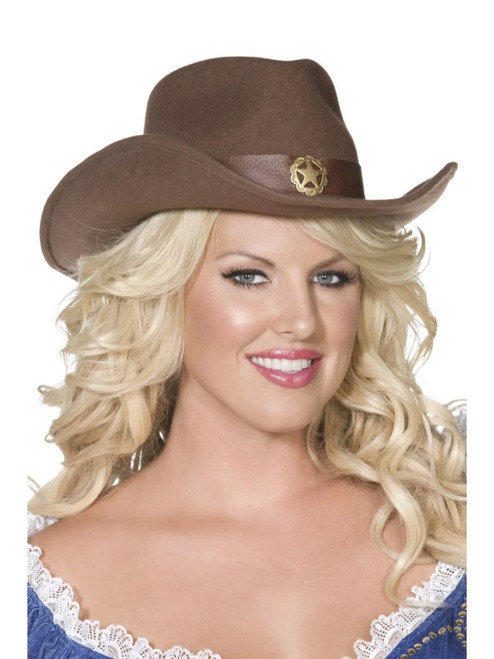 """39"""" Brown and Gold Fever Wild West Cowboy Women Adult Halloween Hat Costume Accessory - One Size - IMAGE 1"""