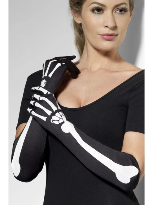 """19"""" Black and White Skeleton Printed Women Adult Halloween Gloves Costume Accessory - One Size - IMAGE 1"""