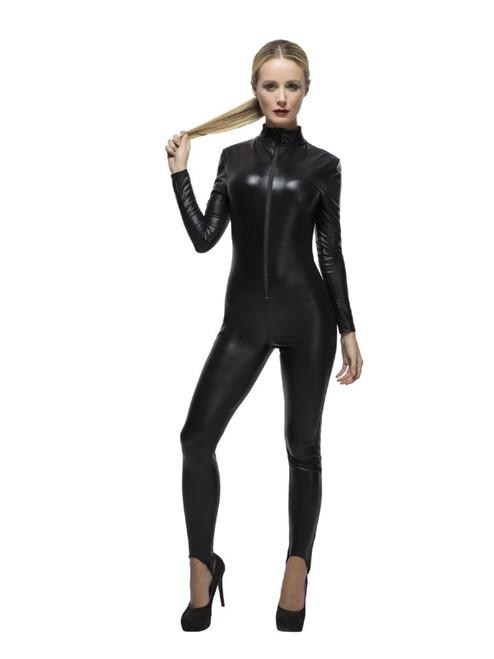 "50"" Black Miss Whiplash Women Adult Halloween Costume - Large - IMAGE 1"